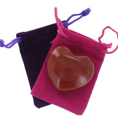 Poppy Jasper Heart Large in Pouch